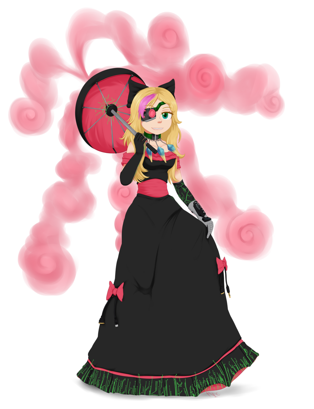 Modemoiselle Grace, by MentalCrash. Imagine Grace with longer, shoulder-length blonde hair, a pink hair streak over one eye, a bionic eye patch deal, a parasol spraying pink hypnogas, and a fancy pink and black ball gown with cables hanging from the ribbons and circuit traces around the foot.